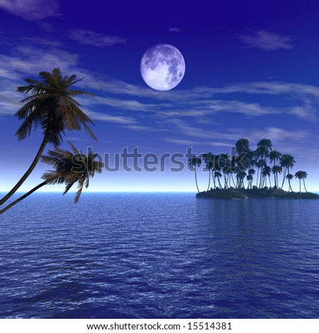 Sunset coconut palm trees on small island - digital artwork. - stock photo