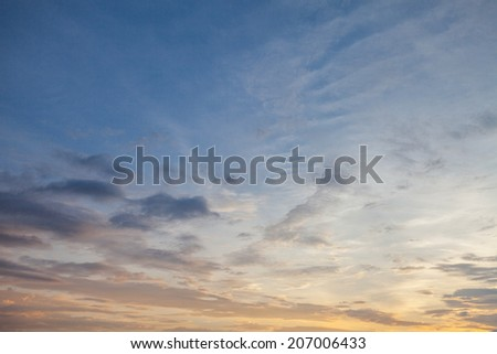 Sunset colorful sky and cloudiness, Thailand - stock photo