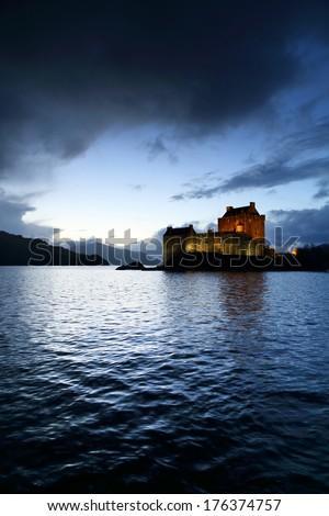 Sunset colours over Eilean Donan Castle, Scotland, Europe - stock photo
