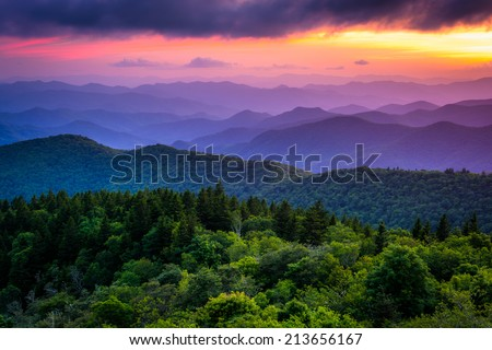 Sunset from Cowee Mountains Overlook, on the Blue Ridge Parkway in North Carolina. - stock photo