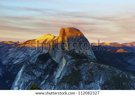 Sunset from Glacier Point, Yosemite National Park - stock photo