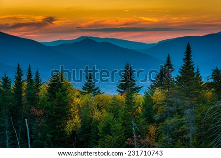 Sunset from  Kancamagus Pass, on the Kancamagus Highway in White Mountain National Forest, New Hampshire. - stock photo