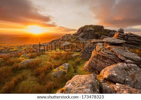 Sunset from King's Tor Dartmoor Devon Uk - stock photo