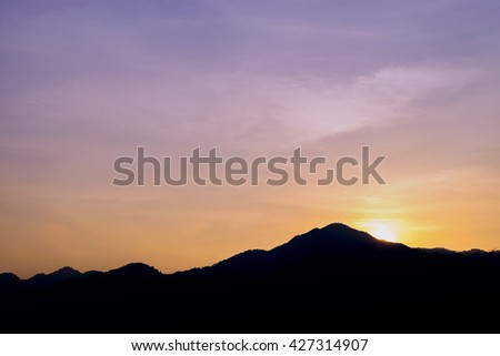sunset from mount, beautiful evening sky of South East Asia. - stock photo