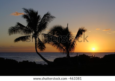 Sunset from Paradise cove, Oahu - stock photo