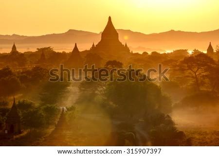 Sunset from Shwesandaw Pagoda in Bagan, Myanmar - stock photo