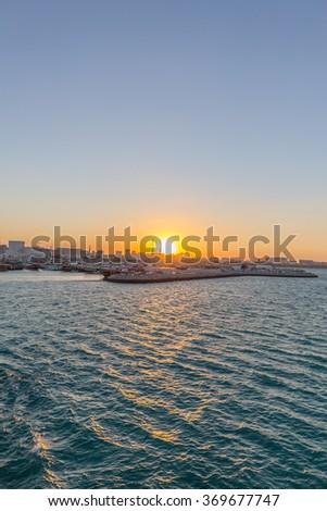 Sunset from the Museum of Islamic Art, Doha, Qatar - stock photo