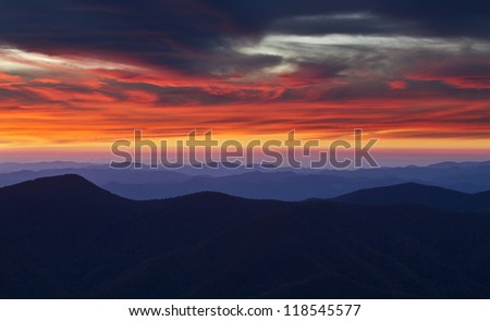 Sunset from the summit of Mount Mitchell - stock photo