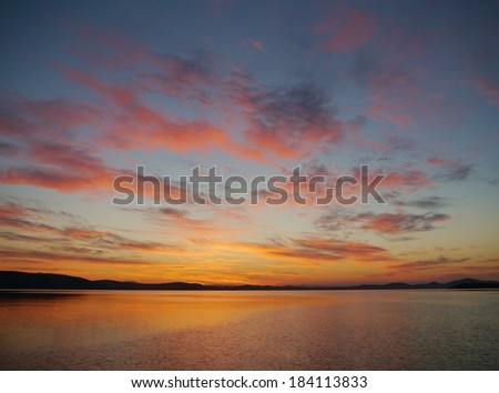 sunset in a bay of Croatia in the Mediterranean - stock photo