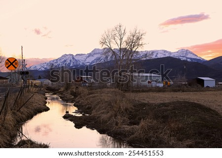 Sunset in a rural town, Utah, USA. - stock photo