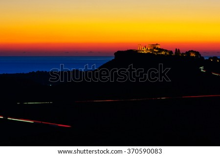 Sunset in Agrigento, Sicily - stock photo