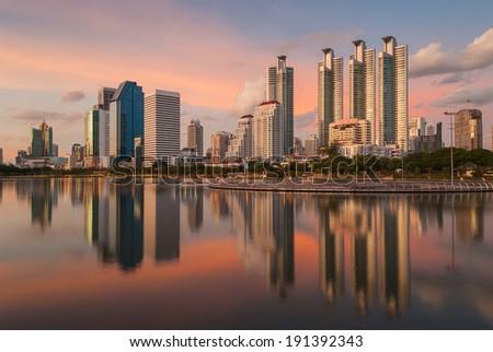 Sunset in Bangkok - stock photo