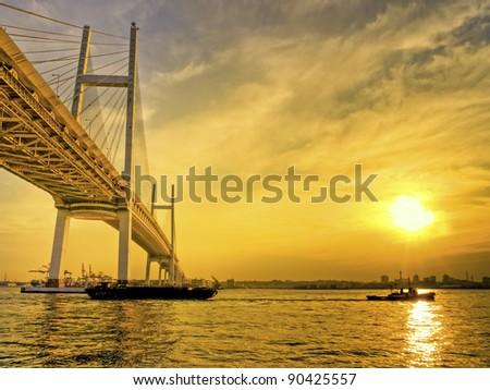 Sunset in Bay Bridge - stock photo