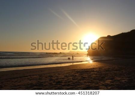 sunset in beach - stock photo