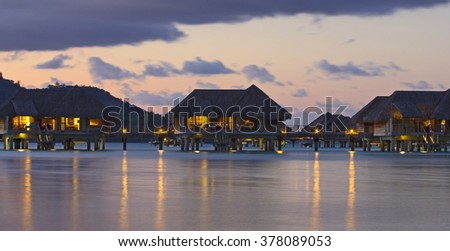 Sunset in Bora Bora - stock photo