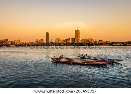 Sunset in Boston, MA - stock photo
