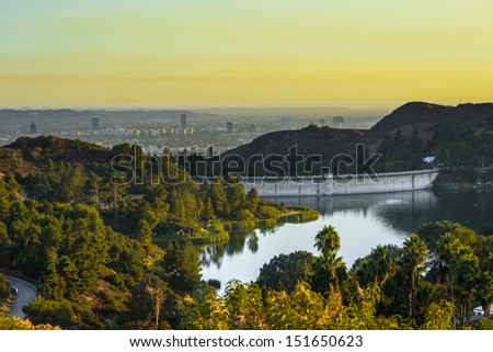 Sunset in California, Los Angles Dam - stock photo