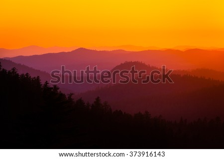 Sunset in California's Yosemite National Park - stock photo