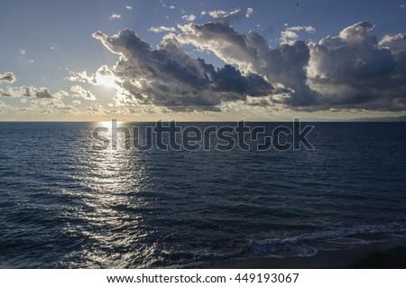 Sunset in Camogli in Genoa in Italy - stock photo