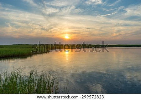 Sunset in Cape Cod - stock photo