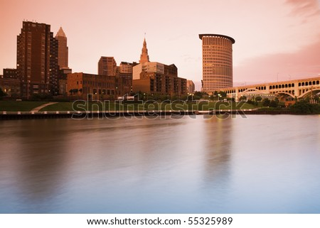 Sunset in Cleveland , Ohio. Taken with tobacco graduated filter. - stock photo