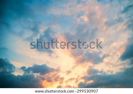 Sunset in clouds. Beautiful aerial view of heaven. - stock photo