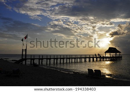 Sunset in Cozumel, Mexico - stock photo