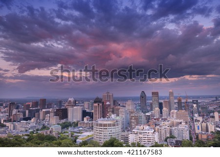 Sunset in Down Town. City View. Montreal. Quebec. Canada. Summer. Magnificent - stock photo