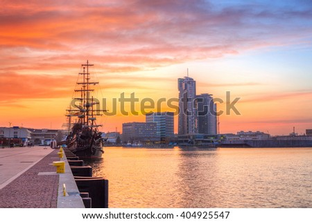 Sunset in Gdynia city at Baltic sea, Poland - stock photo
