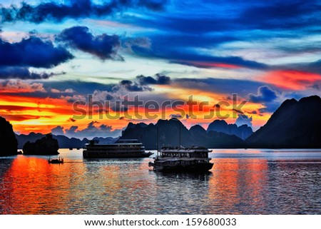 Sunset in Hallong Bay - stock photo