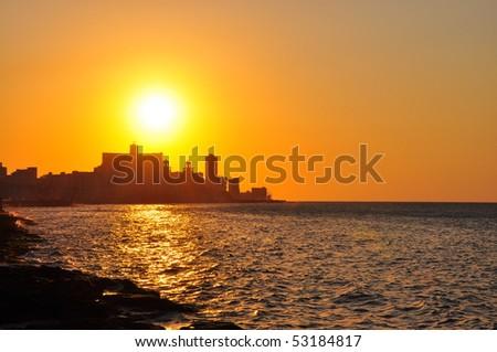Sunset in Havana - stock photo