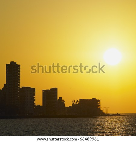 sunset in Havana, Cuba - stock photo