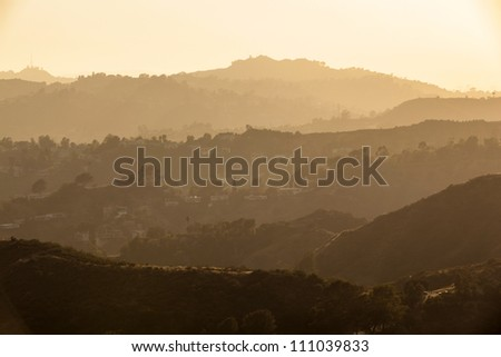 sunset in Hollywood forest, Los Angeles - stock photo