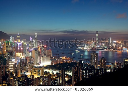 Sunset in Hong Kong - stock photo