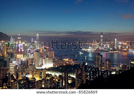 Sunset in Hong Kong - stock photo