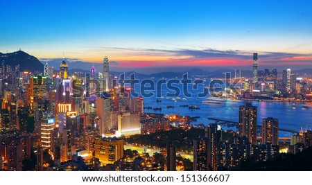 sunset in hong kong city - stock photo