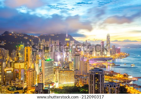 Sunset in Hong Kong city Skyline from braemar hill - stock photo