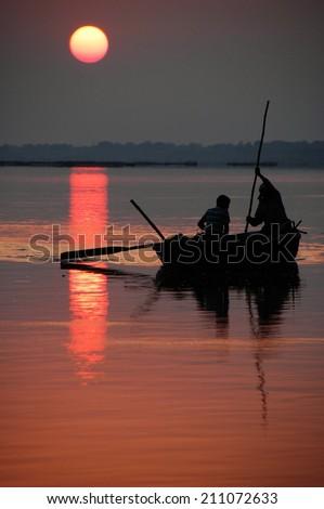 sunset in India - stock photo