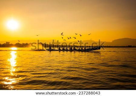 Sunset in Inle lake, Myanmar - stock photo