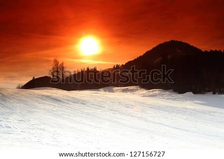 Sunset in Kirchberg, Tirol, Austria - stock photo