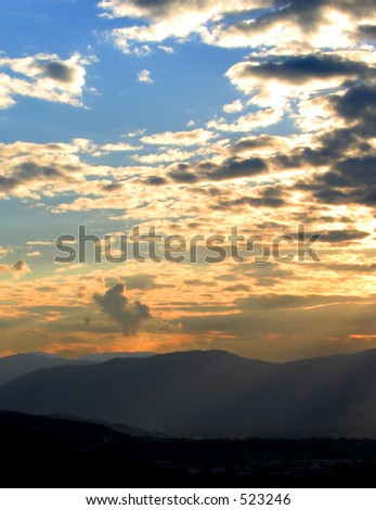 Sunset in L'Aquila, Italy - stock photo