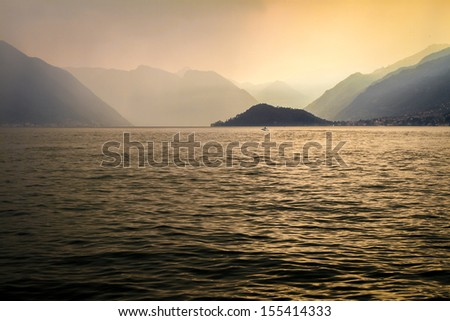 sunset in Lake Como, Italy - stock photo