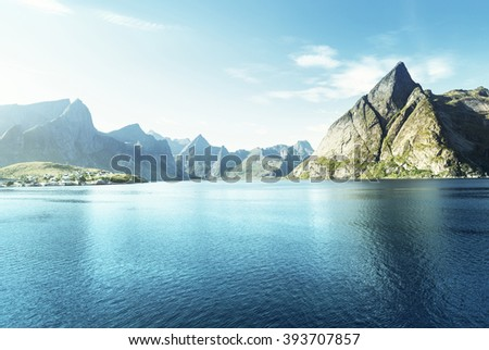 sunset in Lofoten islands, Norway - stock photo