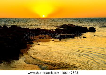 Sunset in Madagascar (amazing view) - stock photo