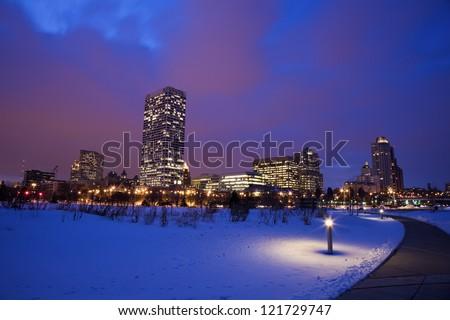 Sunset in Milwaukee. - stock photo