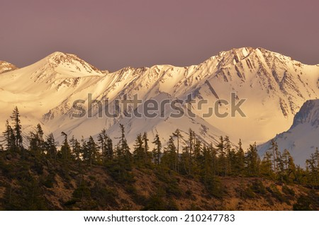 Sunset in mountains - beauty of nature - stock photo