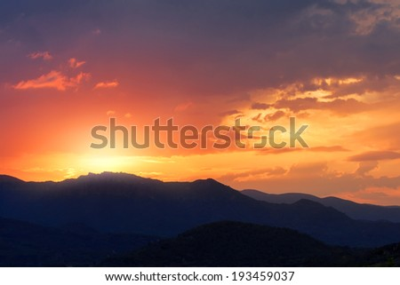 Sunset in mountains, landscape - stock photo