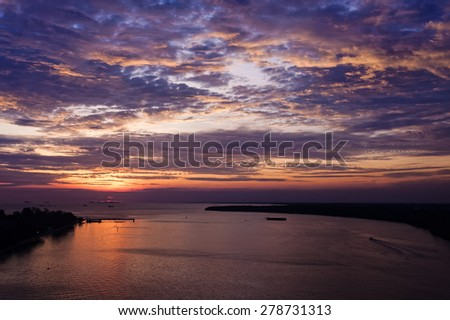 Sunset in Muar town in Malaysia - stock photo