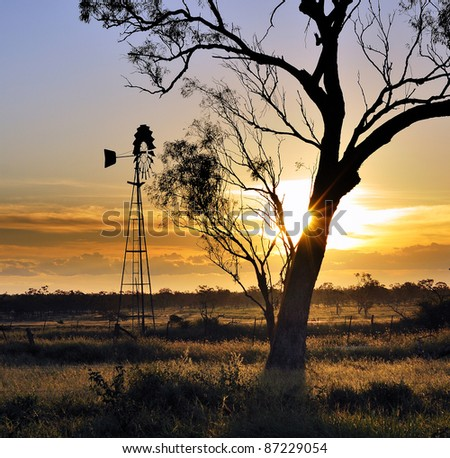 Sunset in Outback, Queensland, Australia - stock photo