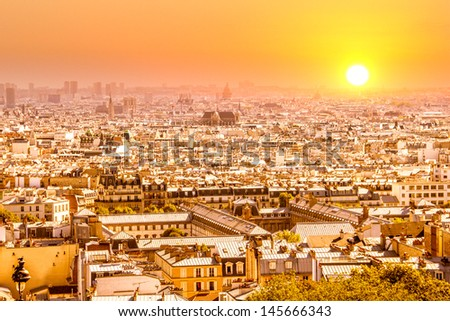Sunset in Paris - stock photo